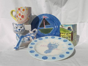 Foot and hand prints on plates and mugs make lovely presents