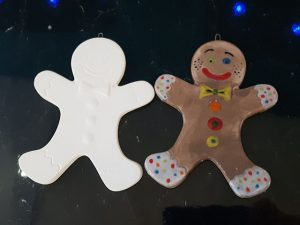 Gingerbread Man Hanging Tree Decoration - Christmas Pottery Painting in Devon