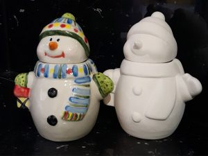 Snowman - Christmas Pottery Painting in Devon